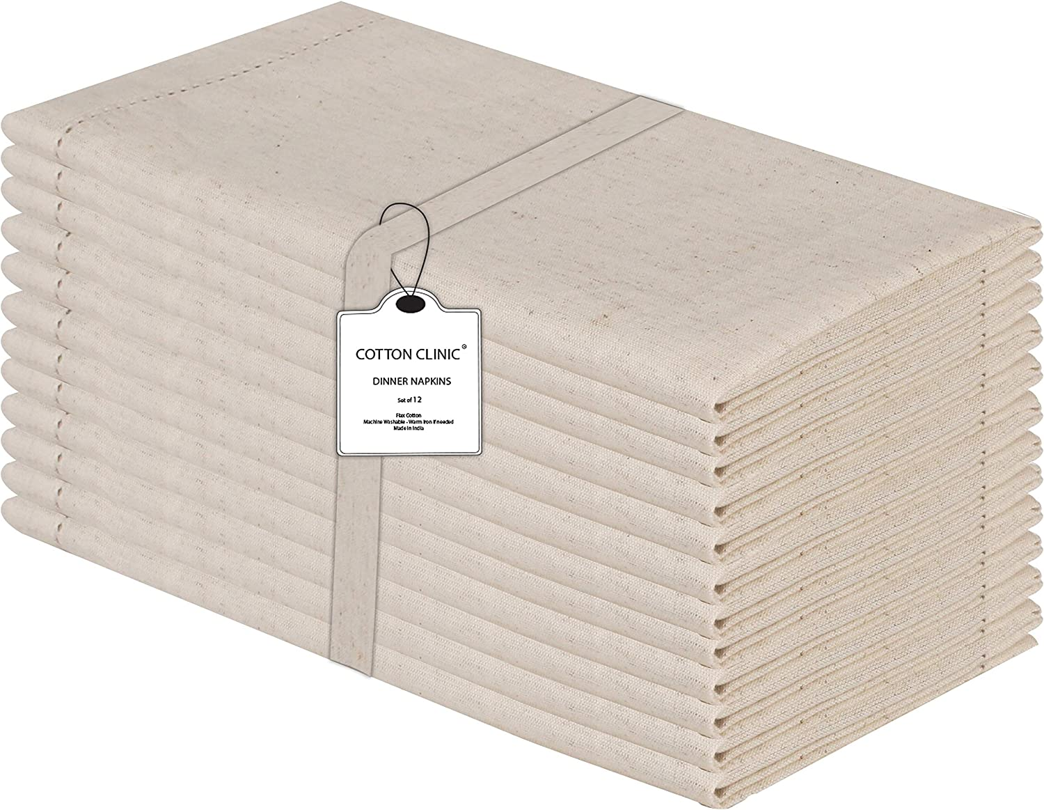 Cotton Clinic 12 Pack Hemstitched Cloth Dinner Napkins Oversized 20x20, Linen Cotton Fabric Tailored with Mitered Corner - Cocktail Napkins, Wedding Dinner Napkins Natural