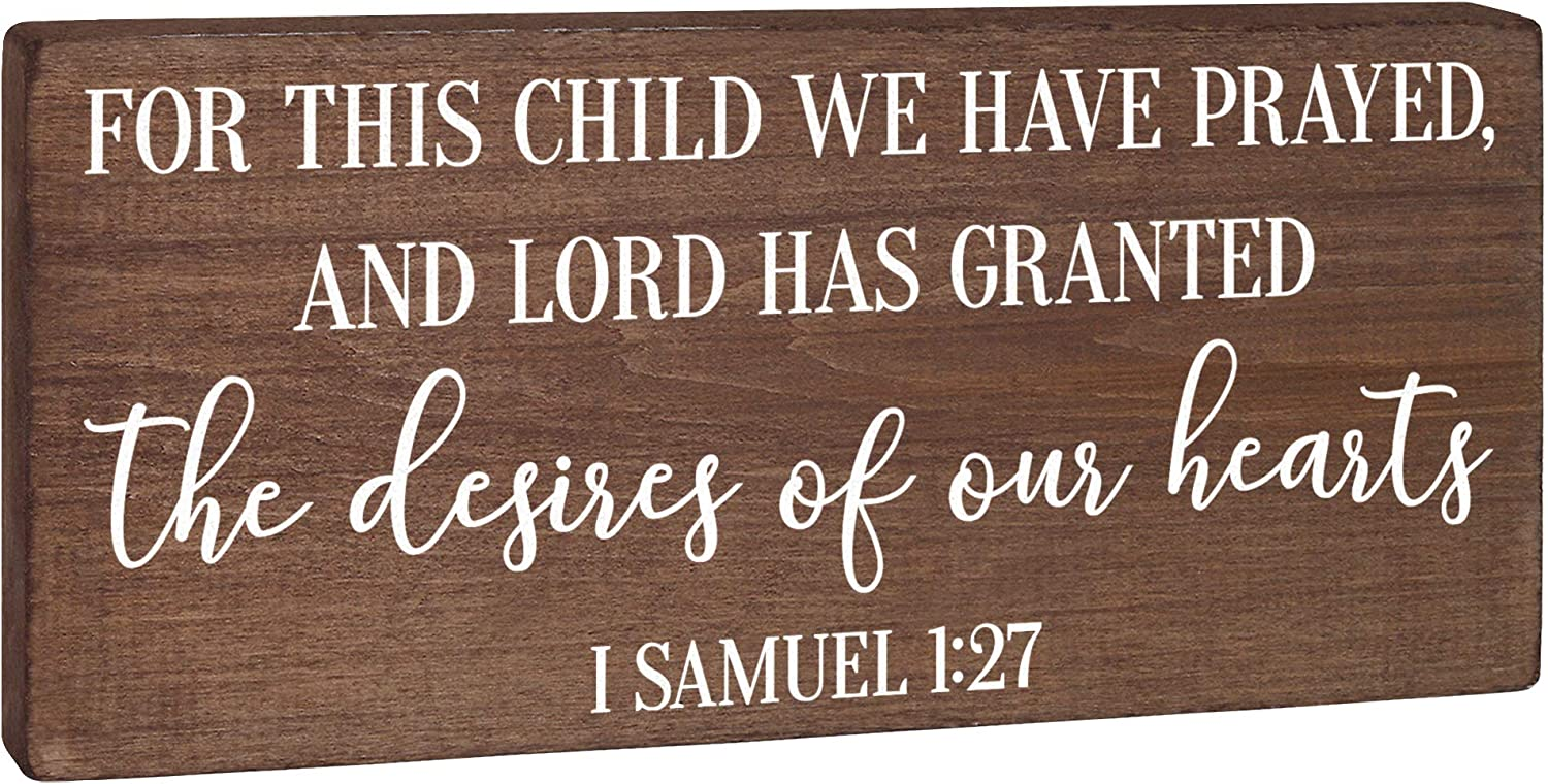 For This Child We Have Prayed - Nursery Decor - Children's Room Sign Rustic Wood Farmhouse Wall Art Neutral 5.5x12 Christian Bible Verse Bedroom Decoration for Baby Boy Woodland or Little Girl Boho