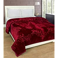 Handicraftworld Floral Embossed Mink Double Bed Blanket (Maroon) (Marron, Single Bed)
