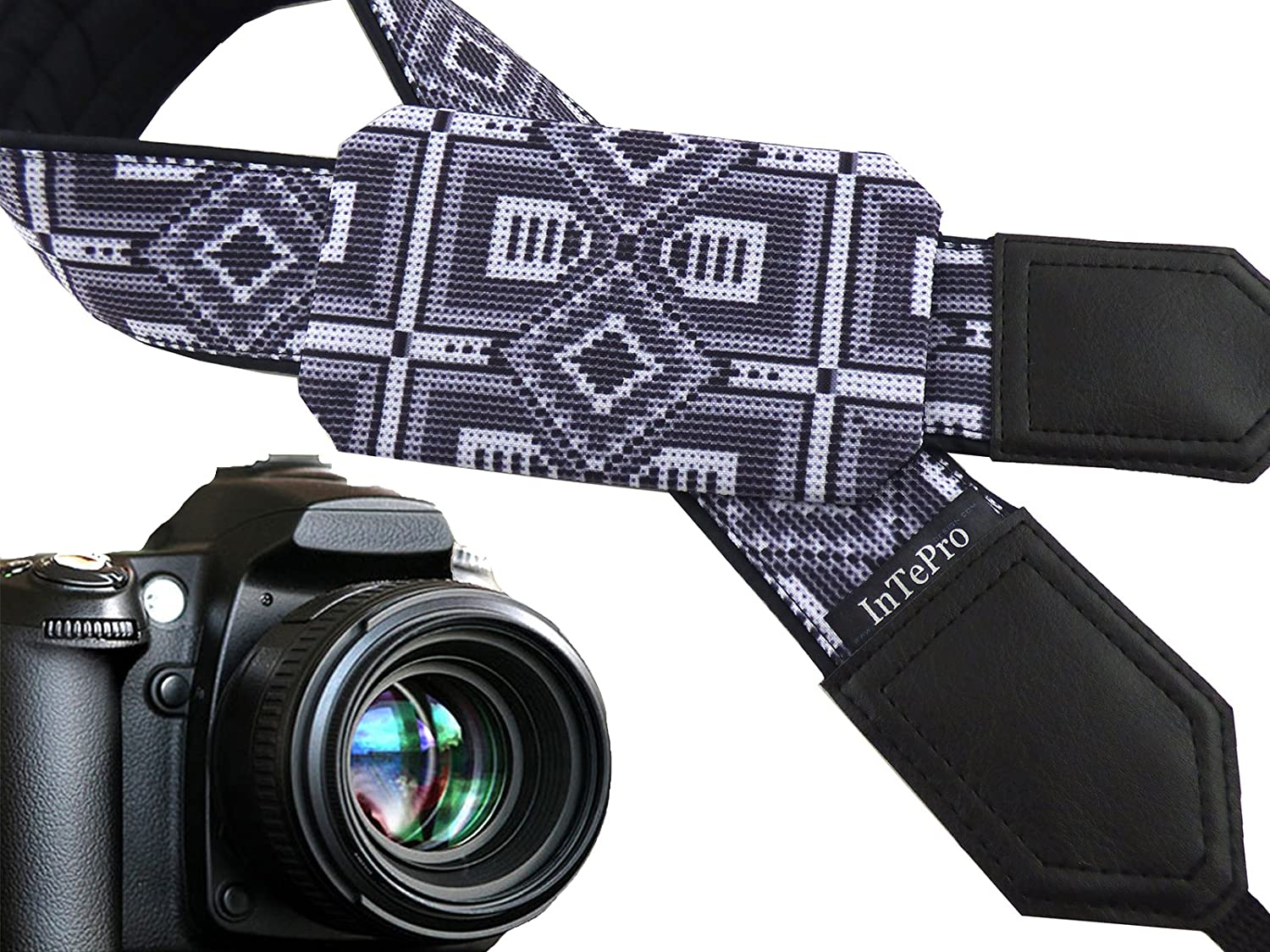 00390 Grey Native American Inspired Camera Strap with Pocket Unisex Strap for Amateurs and Professionals Modest Strap for DSLR and SLR Cameras