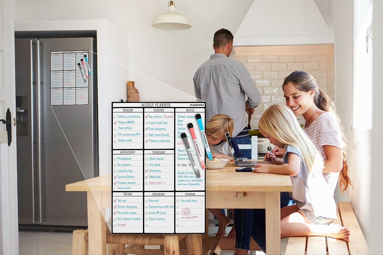 Bonus Whiteboard zum Abwischen f/ür den K/ühlschrank Magnetischer abwischbarer Wochenplaner im DIN-A3-Format; *Beschriftungen in Deutscher Sprache* Magnettafel 3 Marker mit Radierer Plan Smart