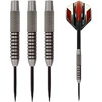 27g Heavy Tungsten Steel Darts Set - 27g Tungsten Dart Barrels, Thick Pentathlon Dart Flights, Black Dart Shafts Made in Britain