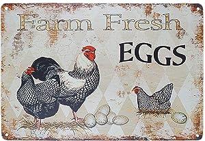 "TISOSO Funny Chicken Hen House Sign Farm Fresh Eggs Country Signs Wall Decor Retro Vintage Tin Bar Sign Metal Animals Yard Decor Gift Size 8"" x 12"""
