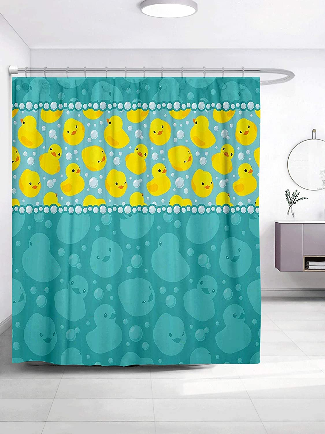 GOOESING Rubber Duck Shower Curtain Set, Cute Yellow Cartoon Duckies Swimming in Water Pattern with Fun Bubbles Aqua Colors, Fabric Bathroom Decor with Hooks, Teal Yellow