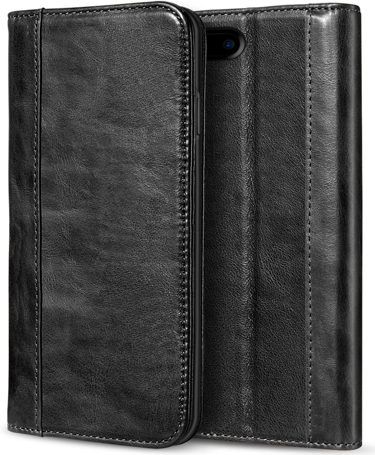 ProCase iPhone 8 Plus 7 Plus Genuine Leather Case, Wallet Folding Flip Case with Kickstand Card Slots Magnetic Closure Protective Cover for Apple iPhone 8 Plus/iPhone 7 Plus -Black