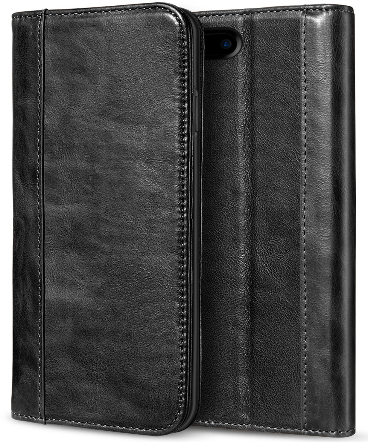 separation shoes c93b3 3fe02 ProCase iPhone 8 Plus 7 Plus Genuine Leather Case, Wallet Folding Flip Case  with Kickstand Card Slots Magnetic Closure Protective Cover for Apple ...