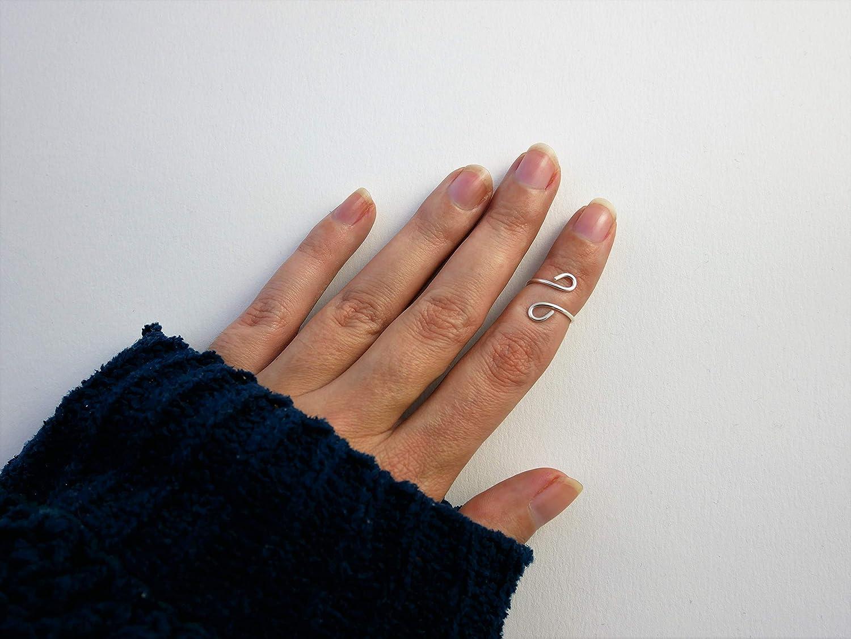 minimaliste double boucle ajustable Bague de phalange en fil dargent 950