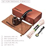 Smoking Pipe Set - Gift Box. Tube with cooler. + Pipe Scraper, Cleaning Brushes, Case For Pipe. Wooden Smoking Pipe Made in Europe