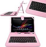 DURAGADGET Funda / Teclado Color ROSA En ESPAÑOL Con Letra Ñ Para Sony Xperia Z / Tablet S - Con Conexión MicroUsb + Lápiz Stylus