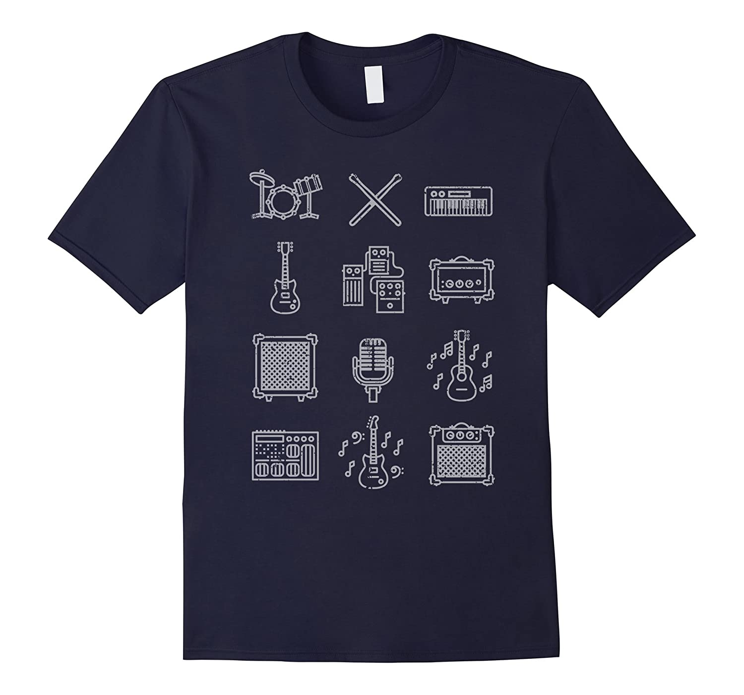 Musical Instrument Icons T-Shirt Musically Shirt Vintage