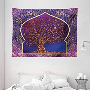 """Ambesonne Ethnic Tapestry, Tree with Curved Leafless Branches Middle Eastern Moroccan Arch Retro Art Design, Wide Wall Hanging for Bedroom Living Room Dorm, 80"""" X 60"""", Purple Blue"""