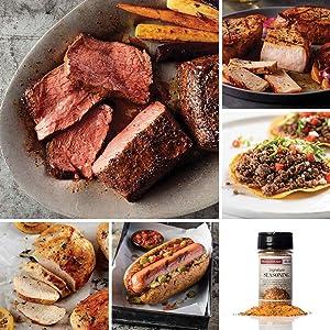 Protein 40 Package from Omaha Steaks (Top Sirloins, Boneless Chicken Breasts, Gourmet Jumbo Franks, Signature Seasoning, Premium Ground Beef, and Boneless Pork Chops)