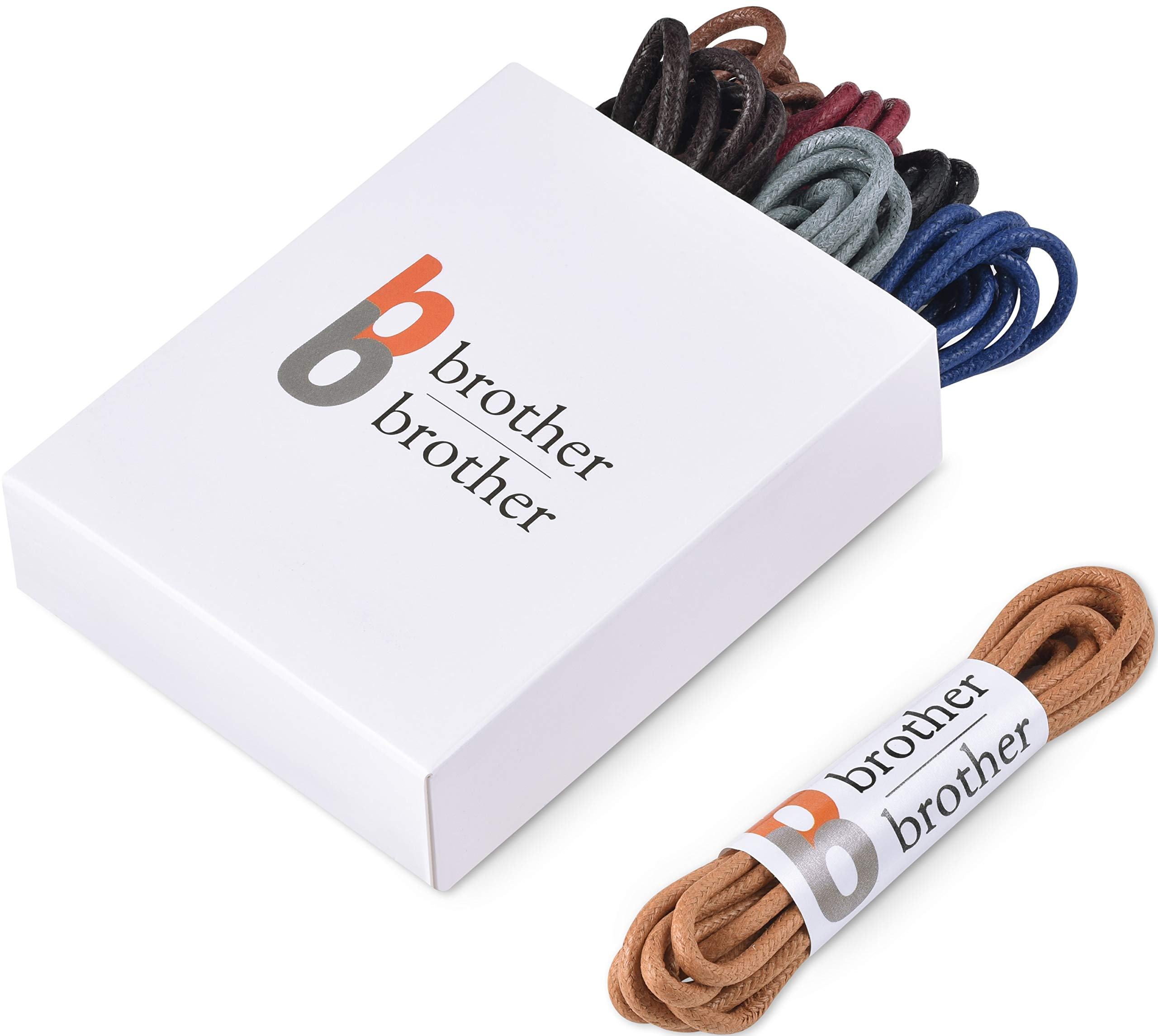 Brother Brother Colored Oxford Shoe Laces for Men (7 Pairs) | 100% Cotton Round and Waxed Shoelaces for Dress Shoes | Gift Box with Black, Burgundy, Brown, Dark Brown, Tan, Navy, and Blue Shoe Strings