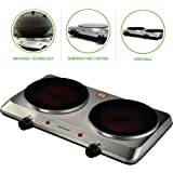 Ovente Countertop Infrared Burner – 1500 Watts – Ceramic Double Plate Cooktop with Temperature Control, Non-Slip Feet – Indoor/Outdoor Portable Electric Stove – Brushed Stainless Steel (BGI202S)