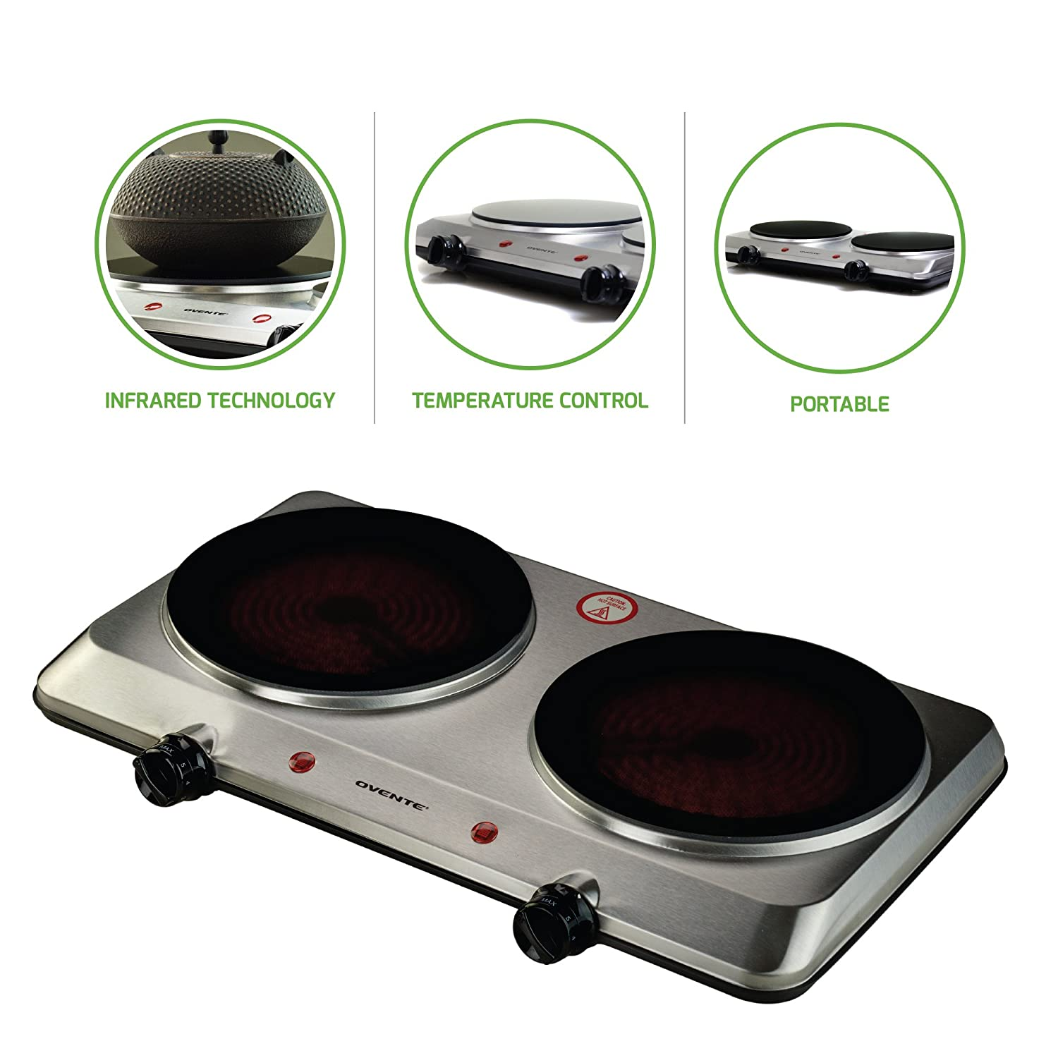 """Ovente Countertop Infrared Burner – 1000 Watts – 7.5"""" Ceramic Glass Single Plate Cooktop with Temperature Control, Non-Slip Feet – Indoor/Outdoor Portable Electric Stove – Stainless Steel (Two Plate)"""