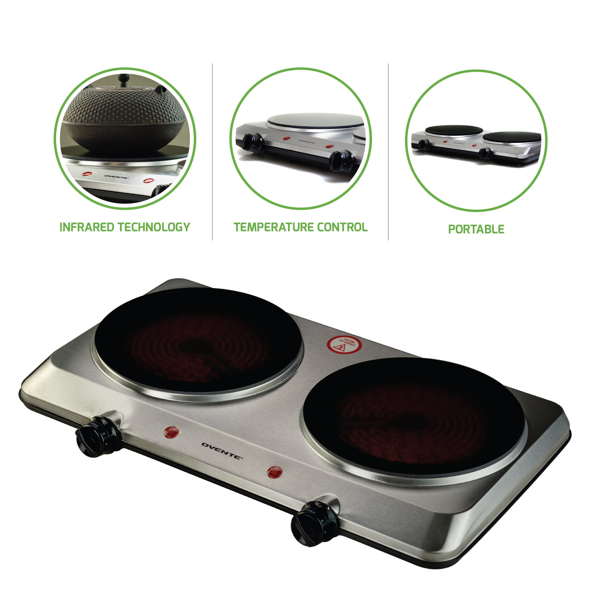Ovente Countertop Infrared Burner 1500 Watts Ceramic