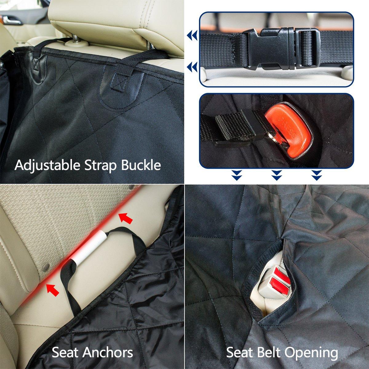 Hundedecke für Auto Rückbank, Morpilot Autoschondecke+ Seitenschutz, 2 Taschen, Teilbare Hunde Sitzauflage wasserdicht waschbar mit Autositzgurt,Super Weich, Ideal für für alle gängigen Automodelle