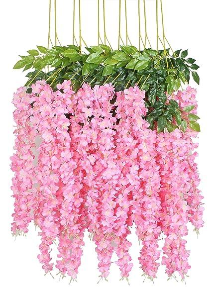 amazon com duovlo 12 piece 3 6 artificial silk wisteria vine ratta
