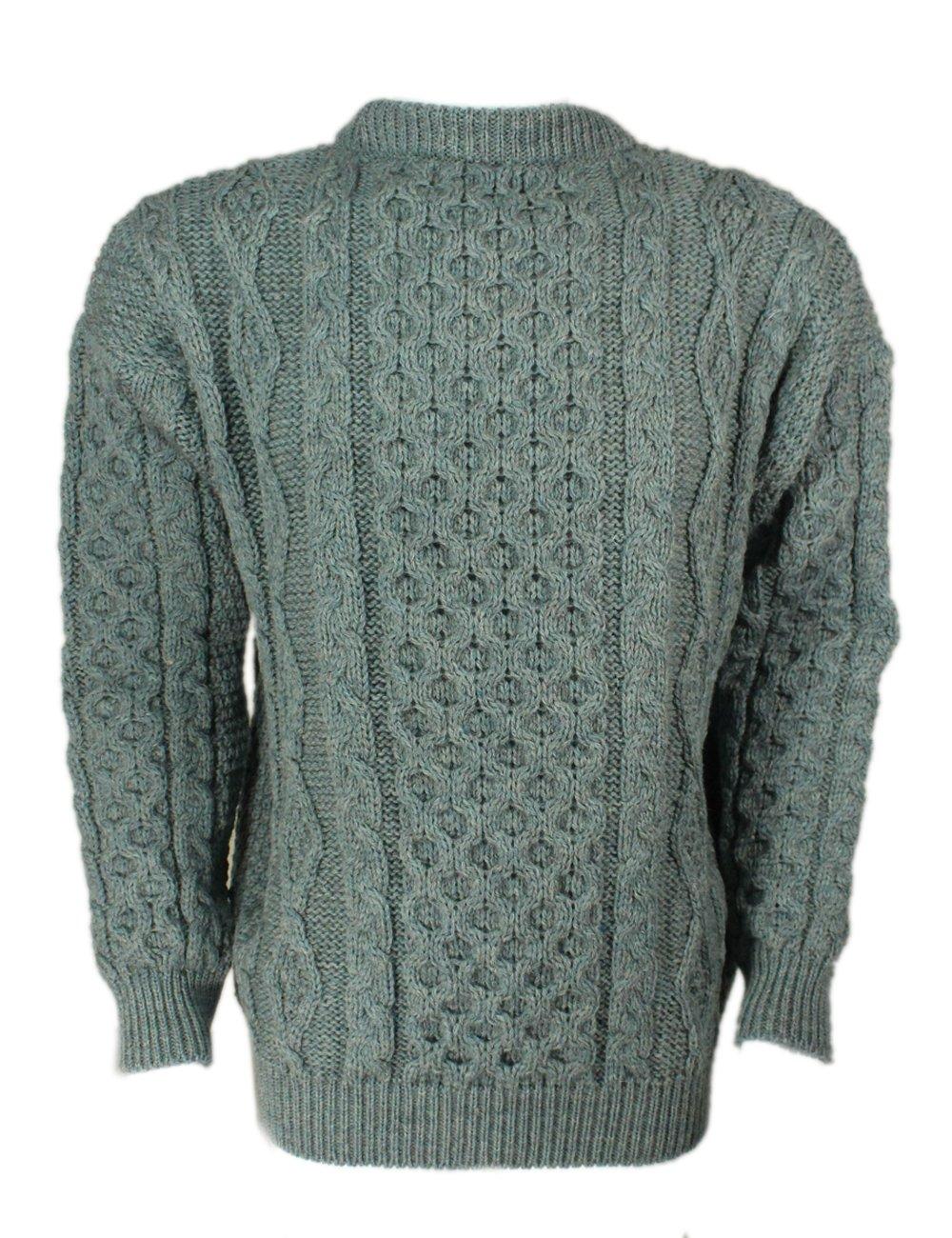 Kerry Woollen Mills Aran Sweater Summer Storm 100% Wool Irish Made Large
