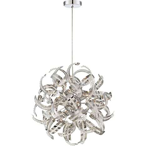 quoizel rbn2817crc 5 light ribbons pendant in crc crystal chrome