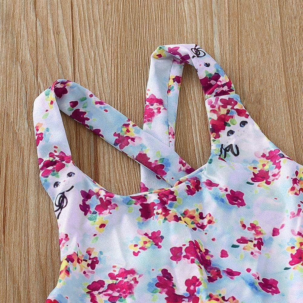 ItaruRous Cute Sling Mesh Swimsuit Baby Girls Floral Print Summer One Piece Swimwear
