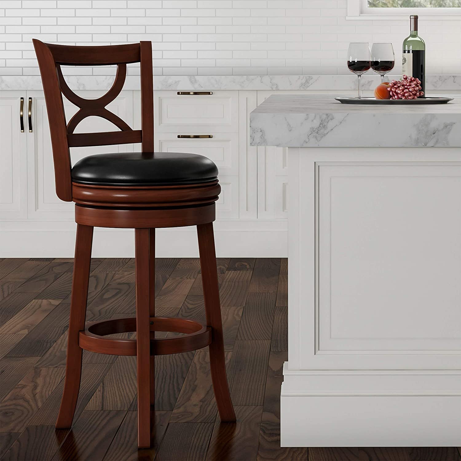 "Lavish Home (Brown Swivel High Back Stool-29"" Counter or Bar Height-360 Degree Rotating Seat, Faux Leather, Solid Dark Wood Finish & Footrest, 29"""