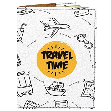 953c274d2397 Passport Cover - Holder for Men Women Kids - Designer Vegan Leather Travel  Case (Travel Time)