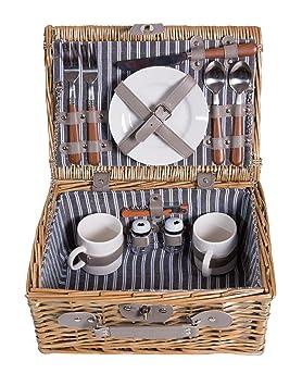 Panier pique-nique complet vaisselle en porcelaine 2 personnes panier en osier Panier pique-nique panier osier en osier panier pique-nique (bleu) AeOAM