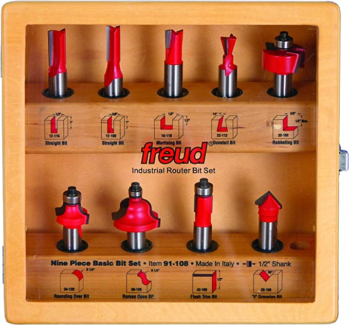 Freud 91-100 Super Router Bit Set with 1//2-inch Shank TiCo Carbide 13-Piece