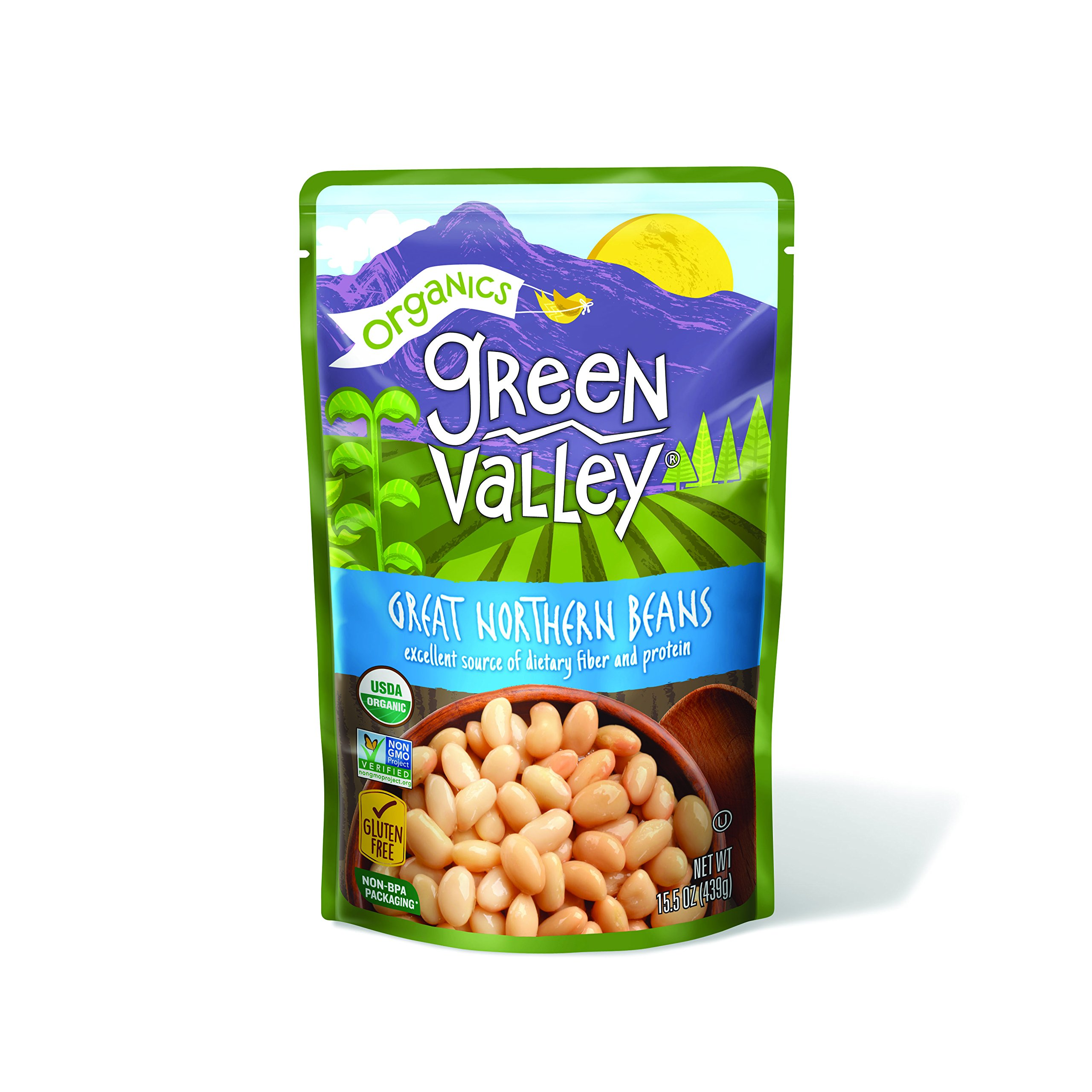 Green Valley Organics Great Northern Beans Pouch, 15.5 Ounce (Pack of 12)