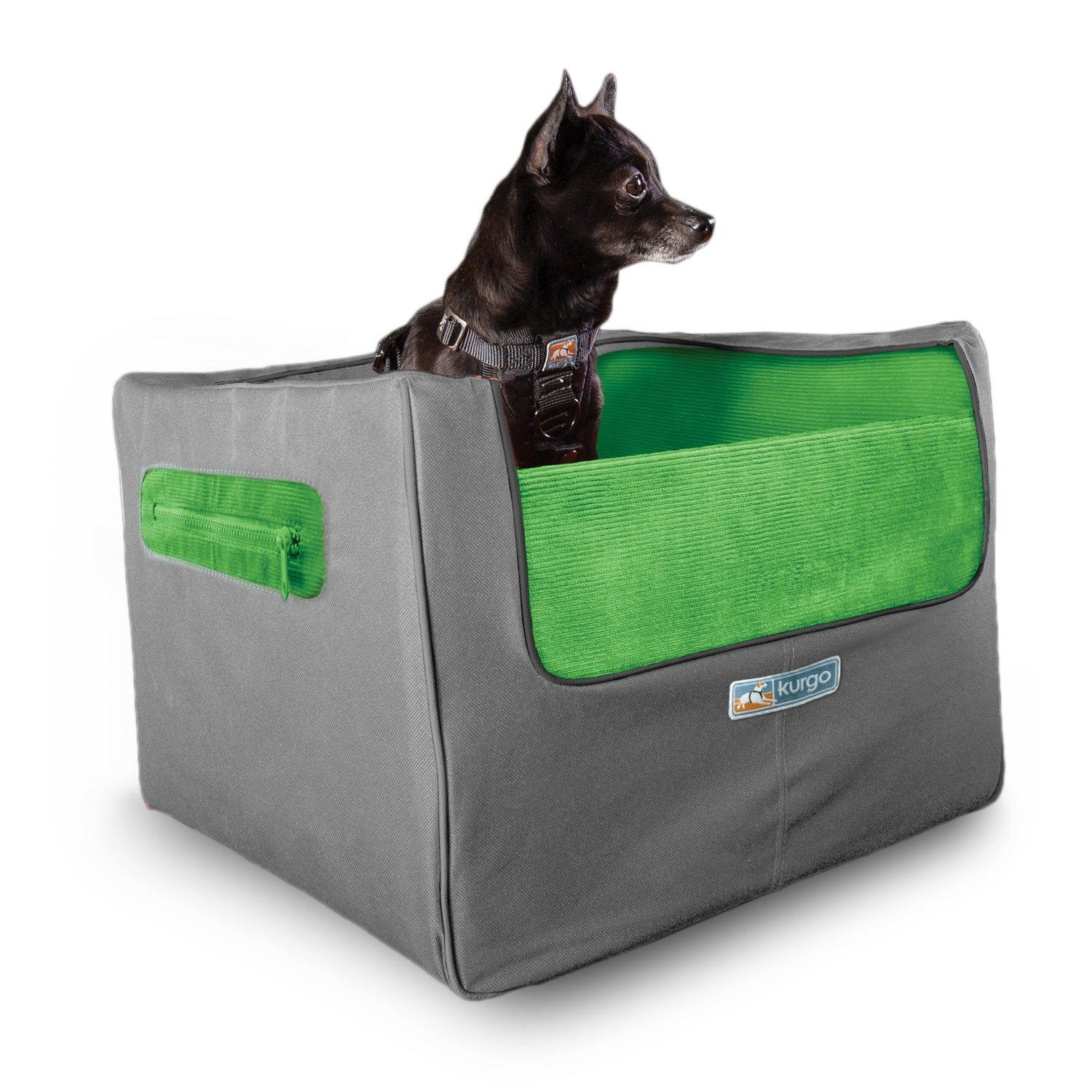 Kurgo Skybox Rear Booster Seat for Dogs & Car Seat for Pets, Includes Seat Belt Tether, Grass Green/Charcoal