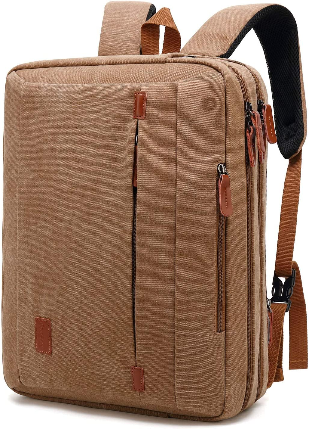 CoolBELL 17.3 Inches Convertible Laptop Messenger Bag Shoulder Bag Canvas Backpack Oxford Cloth Multi-Functional Briefcase for Laptop/MacBook/Tablet (Canvas Khaki)