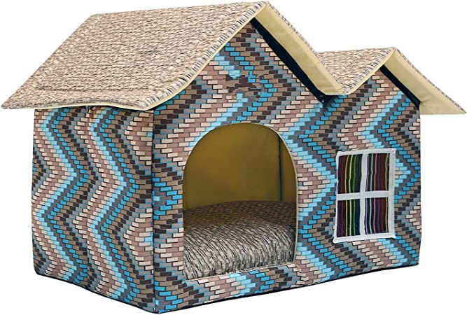 Amazon Com Wowowmeow Portable Pet Indoor Soft Dog House Bed Removable Cushion Included Foldable Small Dog Cat Warm House Bed Double Roof Blue Pet Supplies