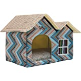 WOWOWMEOW Portable Pet Indoor Soft Dog House Bed Removable Cushion Included, Foldable Small Dog Cat Warm House Bed