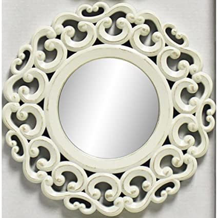Amazon.com: Wall Mirrors Decorative Set 3-Piece Distressed White ...