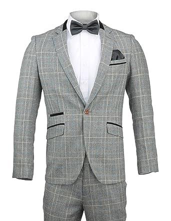 Para hombre Tweed gris codo Blazer parche de cuadros traje ...