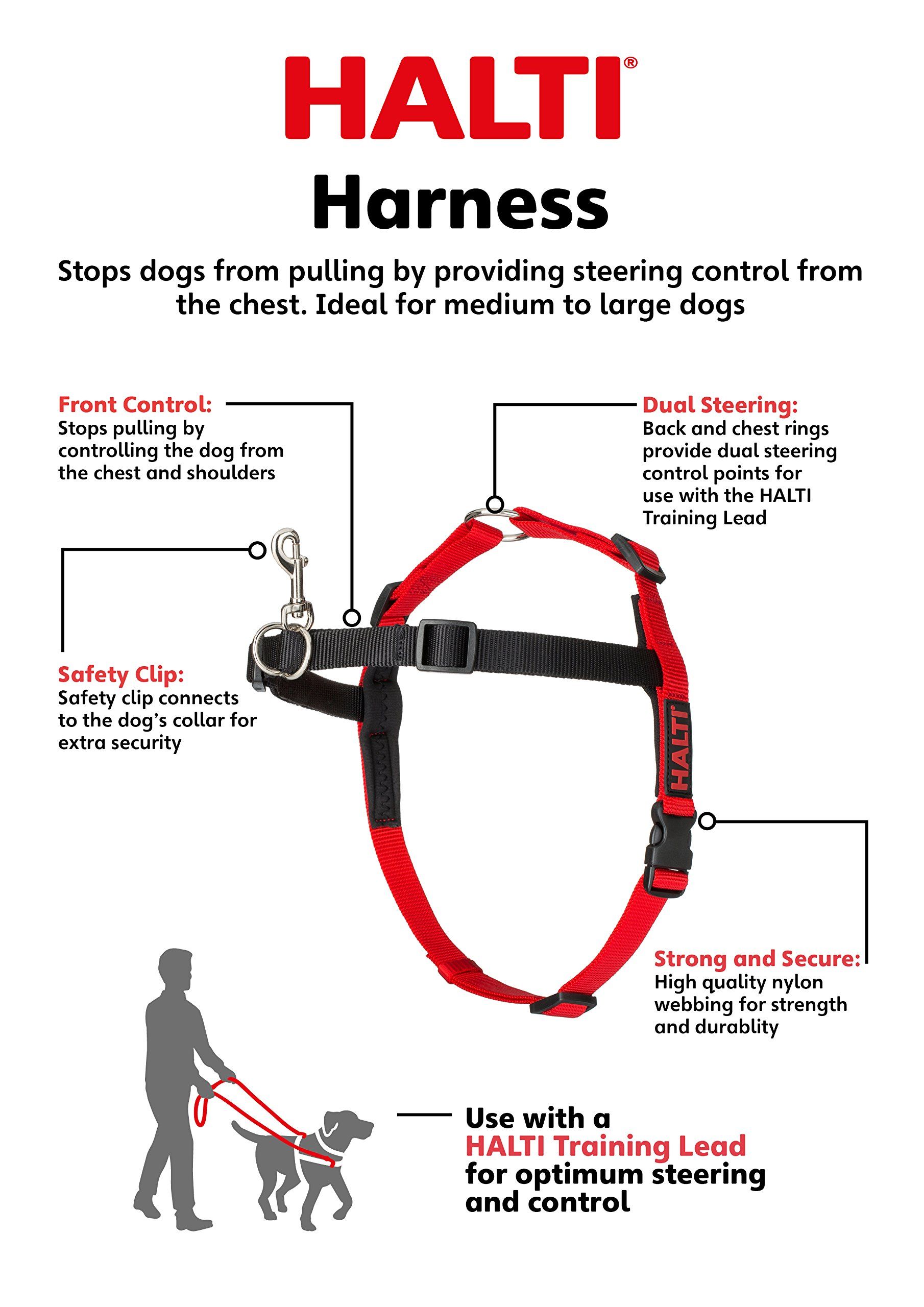 The Company of Animals - HALTI Training Harness - Durable and Adjustable - Comfortable Padded fit - Medium - Black & Red by The Company of Animals (Image #2)