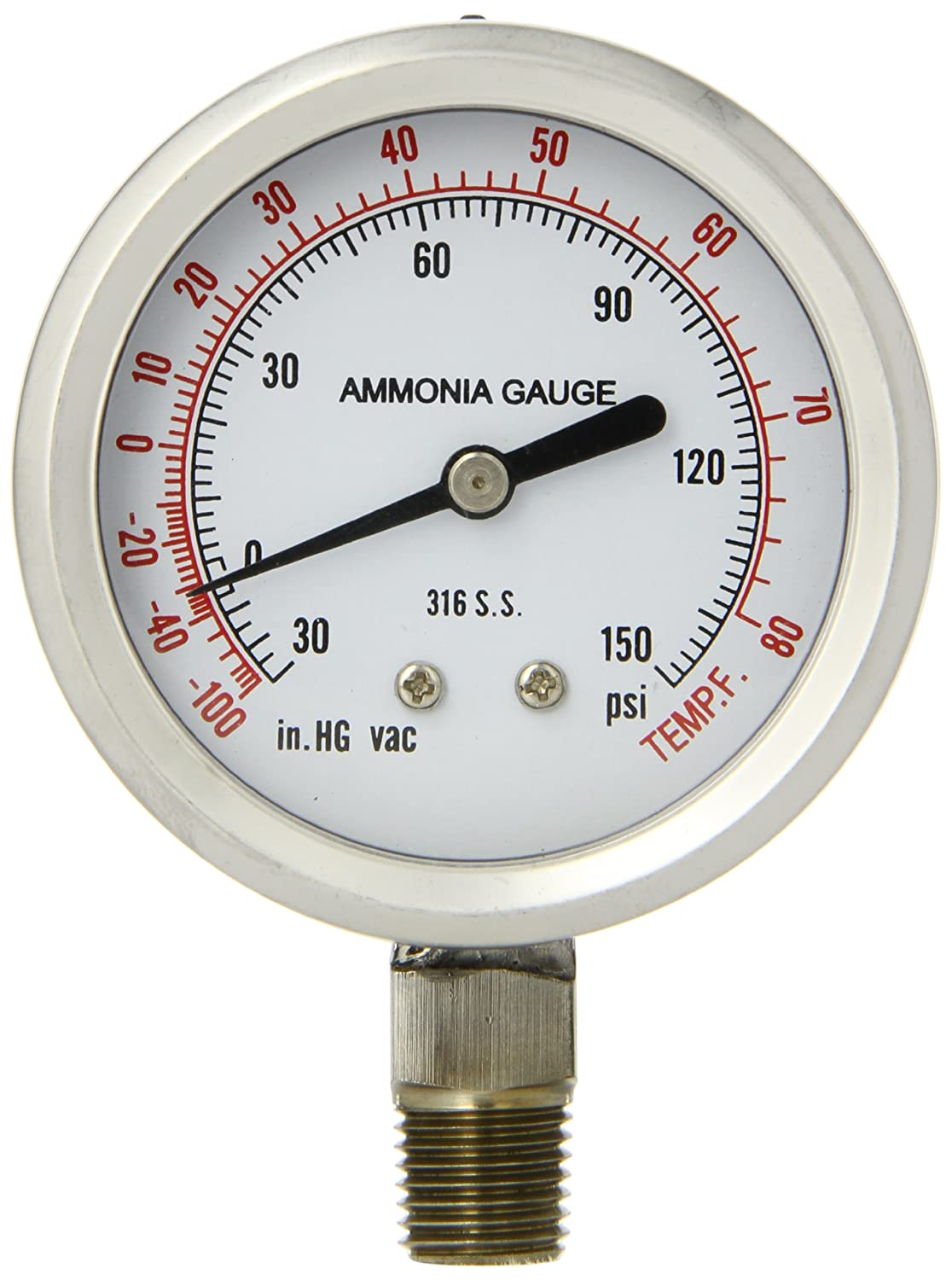 PIC Gauge 401DFW-254CF Dry/Fillable Bottom Mount Ammonia Refrigeration Gauge with Stainless Steel Case, 316 Stainless Steed Internals, Plastic Lens, Welded Connection, 2-1/2' Dial Size, 1/4' Male NPT Connection Size, 30/0/150 psi Range 2-1/2 Dial Size