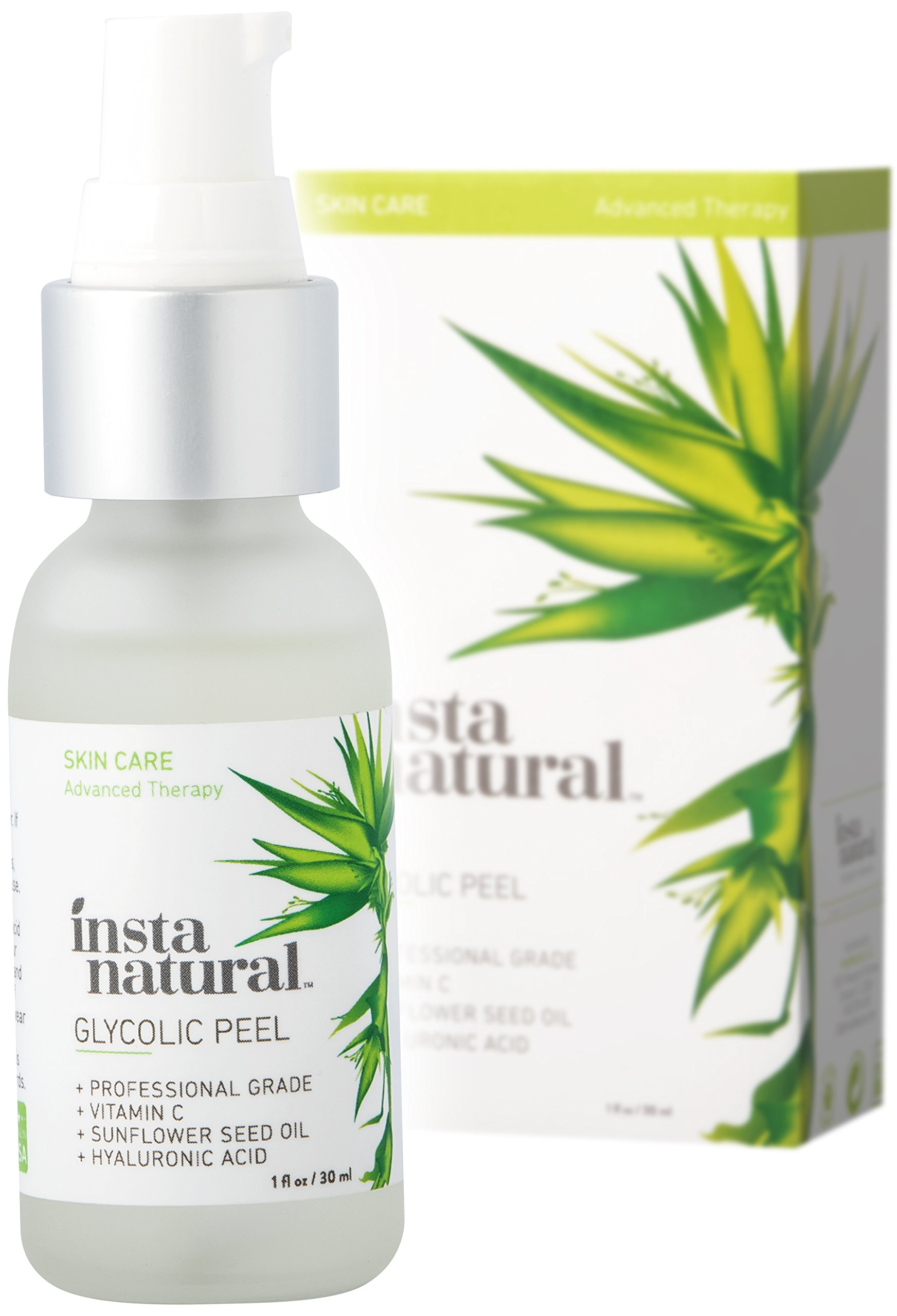 Glycolic Acid Peel 30% – With Vitamin C, Hyaluronic Acid – Best Treatment to Exfoliate Deep, Minimize Pores & Reduce Breakouts, Appearance of Aging & Scars – InstaNatural – 1 oz