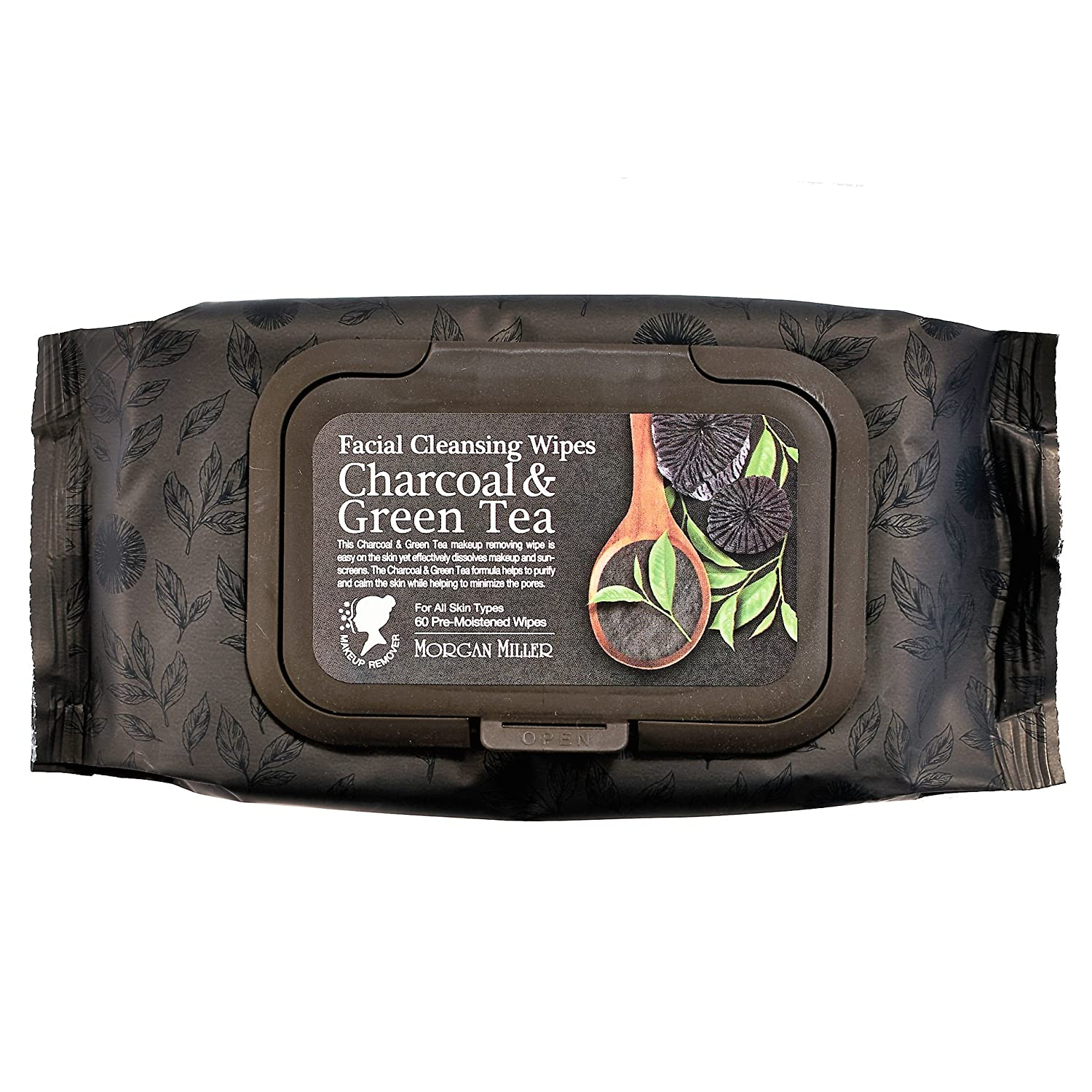 Morgan Miller Facial Cleansing, Makeup Remover Wipes Charcoal & Green Tea, 60 counts Beauty Architects