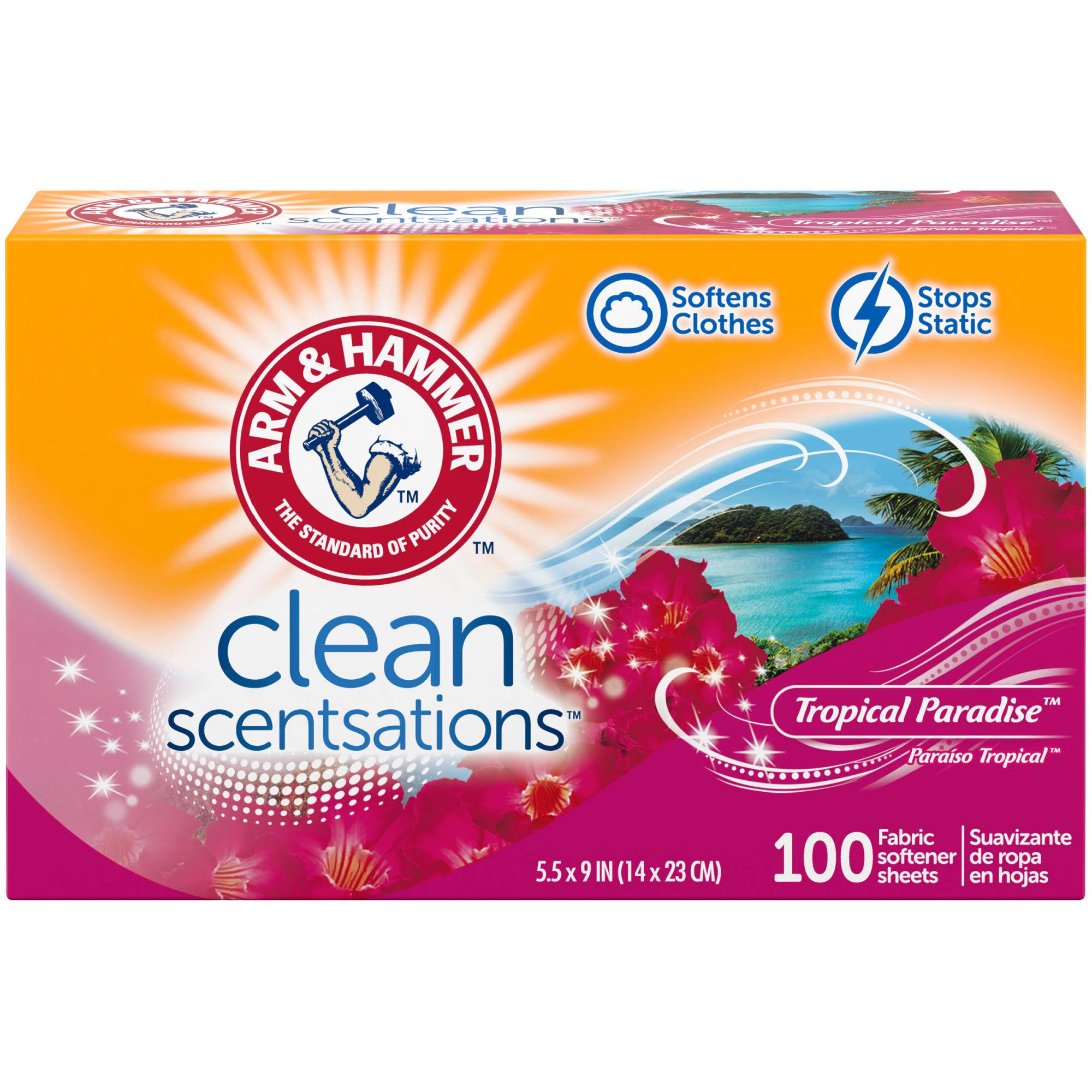ARM & HAMMER Fabric Softener Sheets, Tropical Paradise, 100 ct