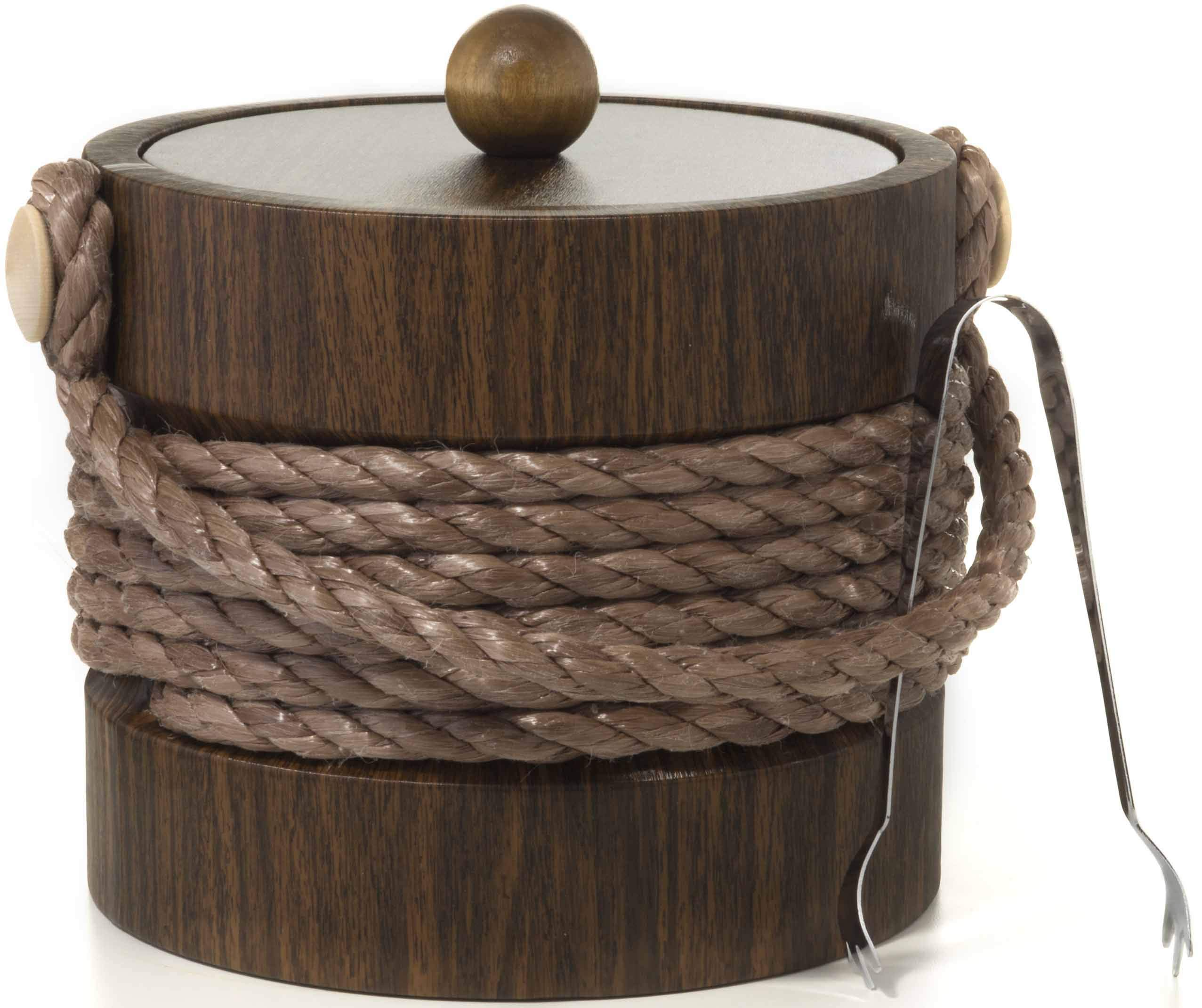 Hand Made In USA Walnut Grain With Rope Handle Double Walled 3-Quart Insulated Ice Bucket With Bonus Ice Tongs