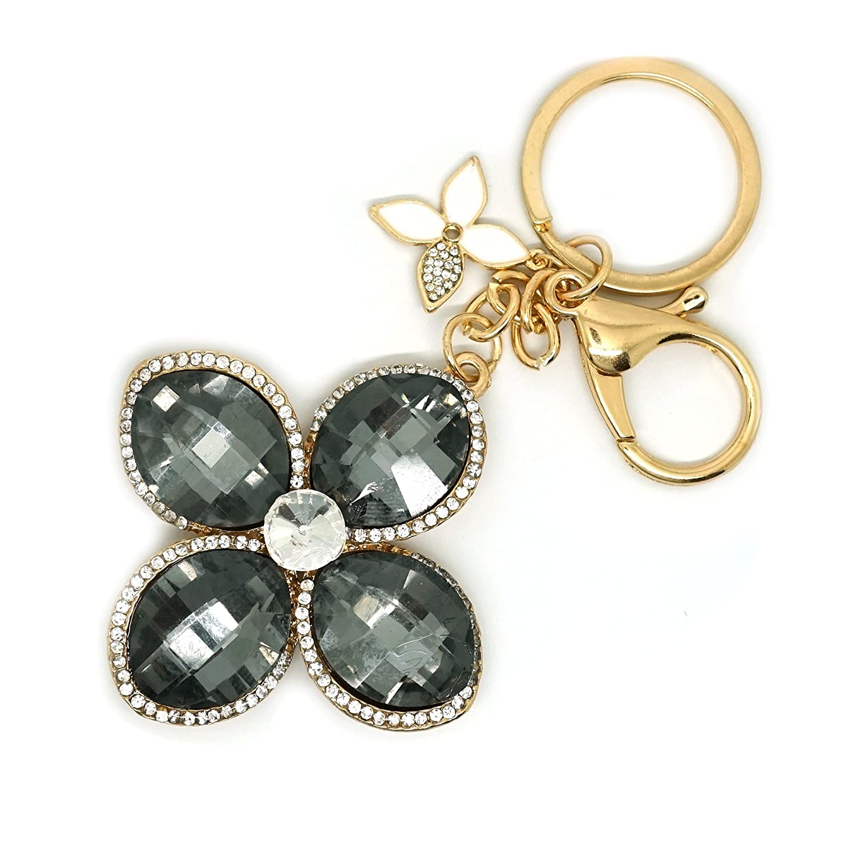 Teri's Boutique Clover Petal Flower Fashion Rhinestone Woman Bag Jewelry Charm Keychain