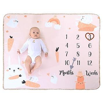 White, 39x 47 INNObeta Baby Monthly Milestone Blanket Flannel Fleece Plush Newborn Infant Photo Blanket for Pictures Photography for Newborn Boys /& Girls New Mom Gifts Elephant