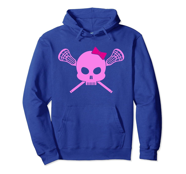 Girls Lacrosse Hoodie   Pink Skull Womens Lax Hoody Pullover-mt