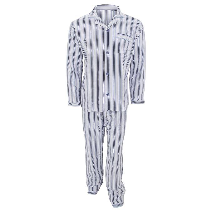 Conjunto de pijama de manga larga de franela estampado a rayas hombre caballero (XL -