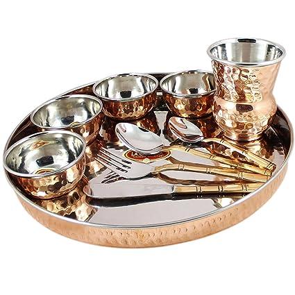 Indian Dinnerware Set Copper Stainless Steel Thali Plate Set Diameter 12 Inch  sc 1 st  Amazon.com & Amazon.com | Indian Dinnerware Set Copper Stainless Steel Thali ...