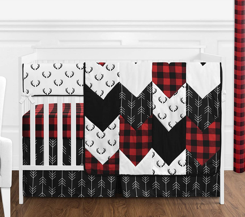 Sweet Jojo Designs Woodland Buffalo Plaid Baby Boy Nursery Crib Bedding Set - 5 Pieces - Red and Black Rustic Country Deer Lumberjack Arrow