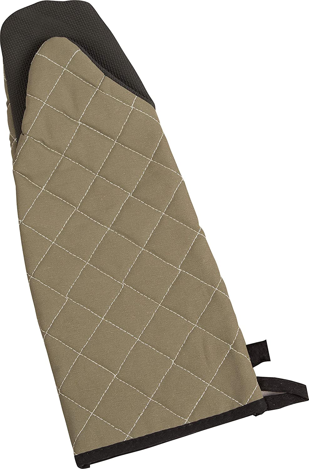 "San Jamar 810PM15 Textured Neoprene Bestgrip Puppet Temperature Protection Oven Mitt with Magnet and WebGuard, 13"" Length, Tan"