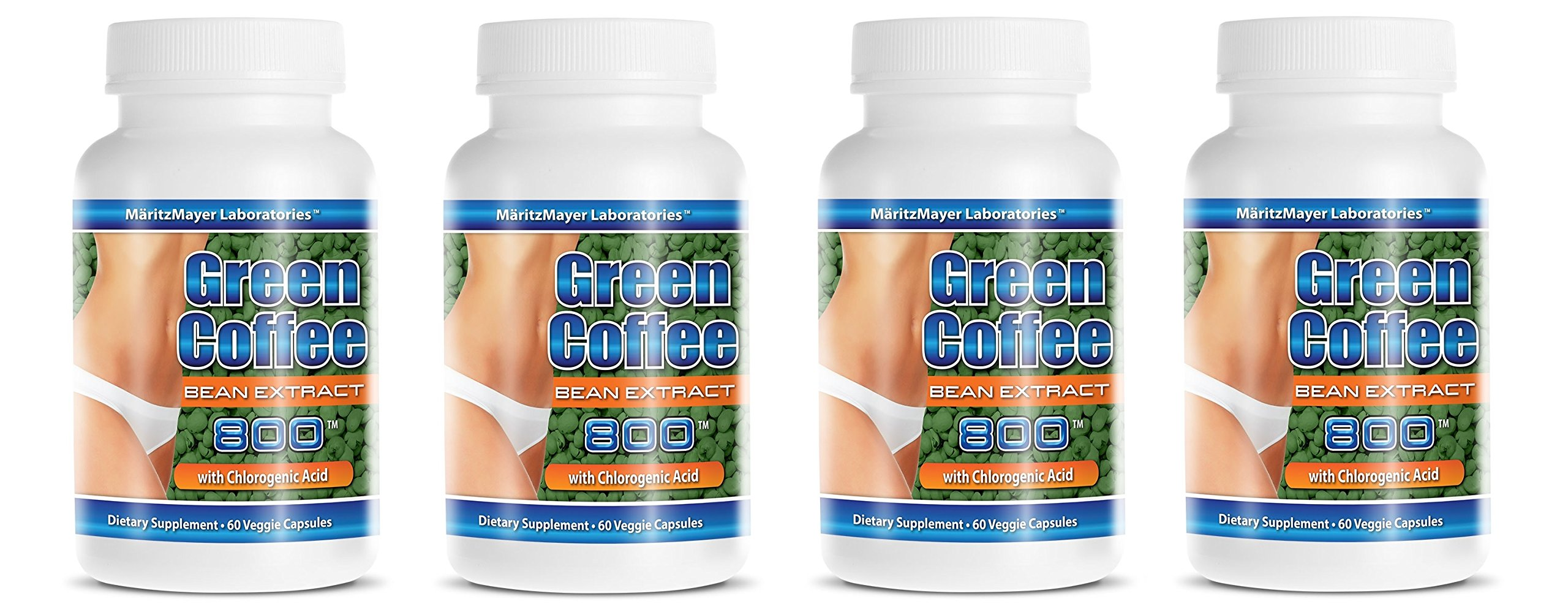Pure Green Coffee Extract 800 mg Diet Weight Loss Pill 60 Capsules Per Bottle (4 Bottles)